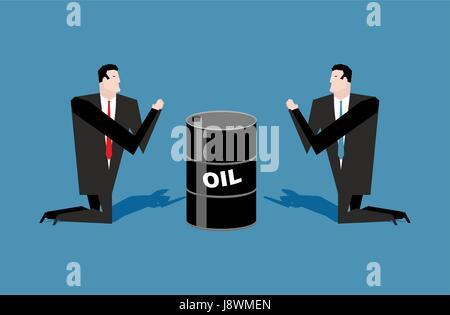 Kaufmann für Barrel Erdöl zu beten. Gebet-Öl-Notierungen. Menschen stehen auf den Knien vor Schwarzgold. Illustration - Stockfoto