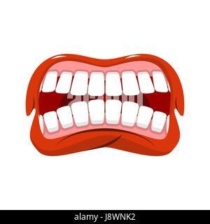 Wütend Mund. aggressive Emotionen. Straseni Grinsen. Weiße Zähne und rote Lippen. Unglücklich shout - Stockfoto