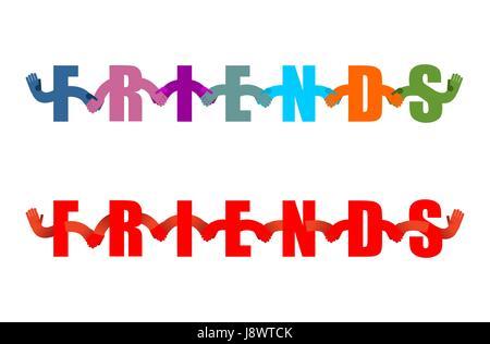 Freunde Lettring Nationalzutat. Briefe, die Hand in Hand. Handshake Typografie. Freundschaft-Logotext - Stockfoto