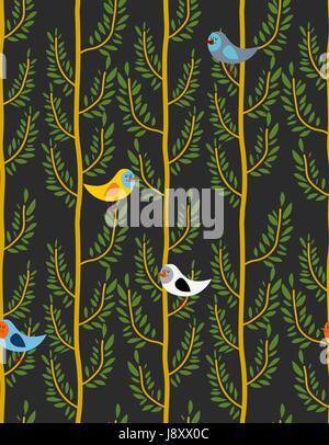 Vögel auf den Bäumen Musterdesign. Vektor Hintergrund des Waldes mit Vögel auf Zweigen. Nächtlichen Wald - Stockfoto