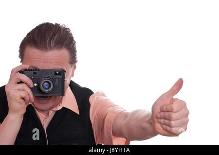 Hand foto kamera objektiv fotograf entfernungsmesser kamera