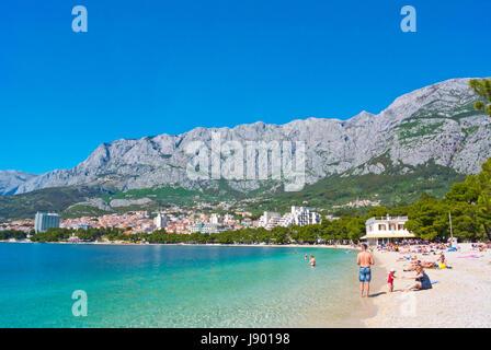 Plaza Donja Luka, der Hauptstrand, Makarska, Dalmatien, Kroatien - Stockfoto