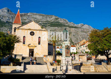 Kačićev Trg, Hauptplatz, Makarska, Dalmatien, Kroatien - Stockfoto