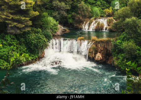 Krka-Nationalpark - Wasserfall Skradinski Buk in Kroatien - Stockfoto