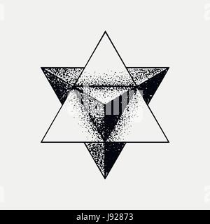 Satz von unmöglich und anderen Tattoo Formen, Dotwork, Blackwork alle Punkte gemacht. Geometrische, heiligen Figuren - Stockfoto