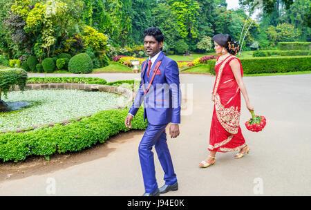 KANDY, SRI LANKA - 28. November 2016: Die Paar Brautpaar Fuß im königlichen botanischen Garten, am 28. November - Stockfoto