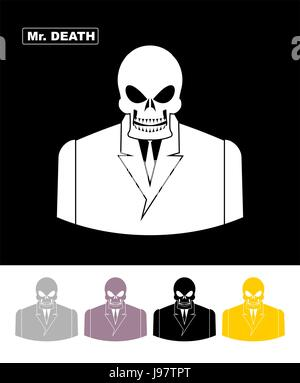 Herr Tod. Totenkopf tragen Geschäftsmann. Skelett in einem Office-Anzug. Web-Symbol. Vektor-Illustration. - Stockfoto