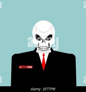 Herr Frist. Tod eines Geschäftsmannes in einem Anzug. Skelett in einem Office-Anzug. Vektor-Illustration. - Stockfoto
