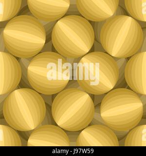 Gold 3D Kugeln nahtlose Muster. Dreidimensionale Vektor Hintergrund. Abstraktion gelbe Kreise Textur. Vintage Ornament - Stockfoto
