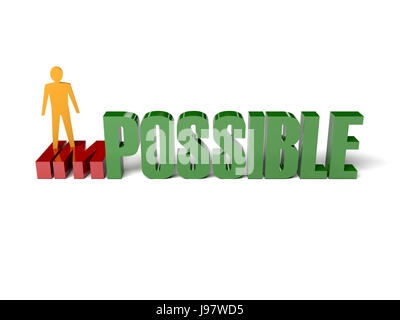 3D Mann drehen das Wort unmöglich in möglich. Konzept-Darstellung. - Stockfoto