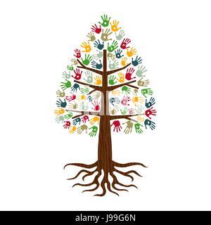 Kiefer Baum Händen der bunte vielfältige Gemeinschaft. Isolierte Konzept Illustration für soziale Hilfe, Nächstenliebe - Stockfoto