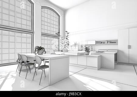 Moderne sonnige helle weiße Wohnküche mit eingebauten Schränken und Geräten und einem stilvollen Essbereich. 3D - Stockfoto