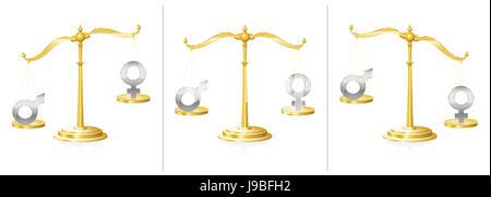 Skala mit männlichen und weiblichen Symbol - ausgewogen und unsymmetrisch - Symbol für Gleichheit oder Unrecht, - Stockfoto