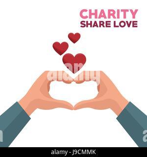 bunte Hände Liebe Liebe bilden ein Herz mit schwebenden Herzen teilen - Stockfoto
