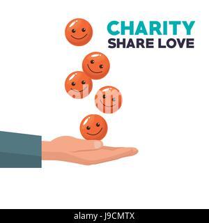 bunten Hand mit schwebenden Münzen in Form von glückliches Gesicht schweben Charity Anteil Liebe - Stockfoto