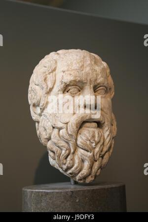 Sokrates (469-399 v. Chr.). Klassischer griechischer Philosoph. Römische Kopie der griechischen original, 380-360 - Stockfoto