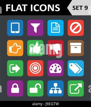 Universelle bunte flache Icons. Set 9. - Stockfoto