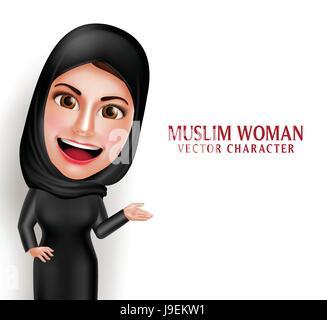 Muslimische Frau Vektor Charakter präsentiert in einem leeren weißen Raum mit schönen Lächeln tragen Hijab und islamische - Stockfoto