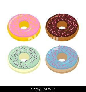 Legen Sie Donuts. Süßigkeiten mit verschiedenen Geschmacksrichtungen: Schokolade und Vanille. Vektor-Illustration - Stockfoto