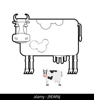 Kuh Malbuch. Vektor-Illustration von landwirtschaftlichen Nutztieren. - Stockfoto