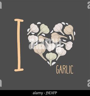 Ich liebe Knoblauch. Herzen von erdigen Knoblauch. Vektor-illustration - Stockfoto