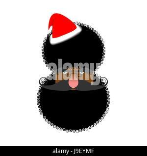 Schwarze Santas Gesicht. Afroamerikaner in Claus Hut. Afro-Frisur. Weihnachten Zeichen - Stockfoto