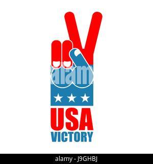 Finger-Sieg USA. Amerika gewinnt Hand. Symbol des USA Patriot. Amerikanische Sportarten zu unterzeichnen. Ausdruck - Stockfoto