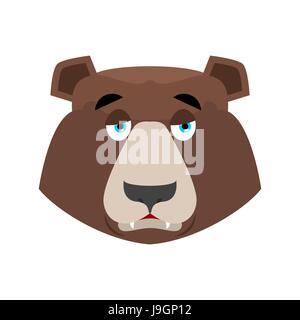 Tragen Sie traurig Emoji. Grizzly melancholische Emotion. Gesicht wildes Tier isoliert - Stockfoto