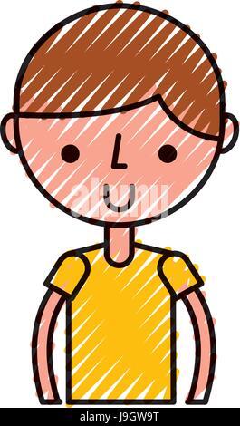 Scribble Oberkörper junge cartoon - Stockfoto
