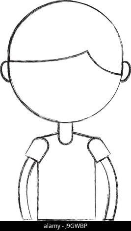Skizze zu zeichnen Oberkörper junge cartoon - Stockfoto