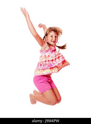 Fröhliches aufgeregt Jumping Mädchen isoliert auf weiss - Stockfoto