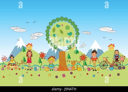 Kinder spielen im Park Vektor cartoon illustration - Stockfoto