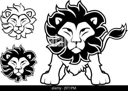 Löwe-Vorderansicht und Kopf Designs isoliert auf weißem Hintergrund im Vektor-Format sehr einfach zu bearbeiten, - Stockfoto