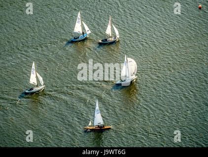 Segelregatta am See Baldeney, Segeln Boote, Essen, Ruhr und Umgebung, Nordrhein-Westfalen, Deutschland - Stockfoto