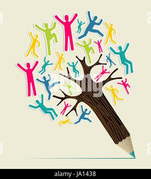 Vielfalt Menschen Konzept Bleistift Weltenbaum. Vektor-Illustration für einfache Handhabung und individuelle Färbung - Stockfoto