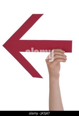 Eine Person hält einen roten Pfeil, welche Punkte nach hinten, isoliert - Stockfoto