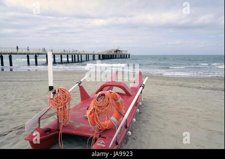 Lido di Camaiore (Versilia, Nord Küste der Toskana, Italien), Pier Bellavista Vittoria - Stockfoto
