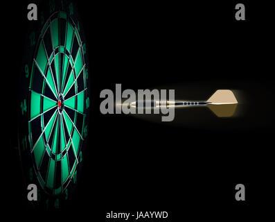 Schuss des Darts im Bullseye auf Dartscheibe - Stockfoto