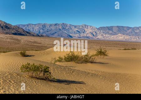 Menschen, Touristen, Wanderer, Wandern, Mesquite flache Sanddünen, Death Valley Nationalpark, Death Valley, Kalifornien - Stockfoto