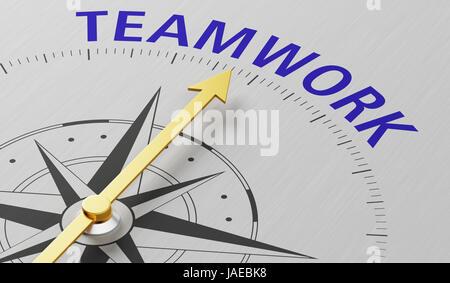 Kompassnadel auf das Wort Teamarbeit - Stockfoto