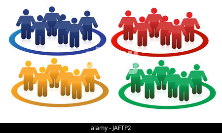 Bunte Teams Illustration Design in weiß - Stockfoto