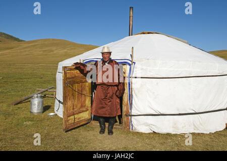 Mongolei, Zentralasien, Provinz Arkhangai, Greis, Nomad, traditionelle Kleidung, - Stockfoto