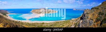Wunderschöne Panorama von Balos Lagoon und Gramvousa Insel Kreta, Griechenland - Stockfoto