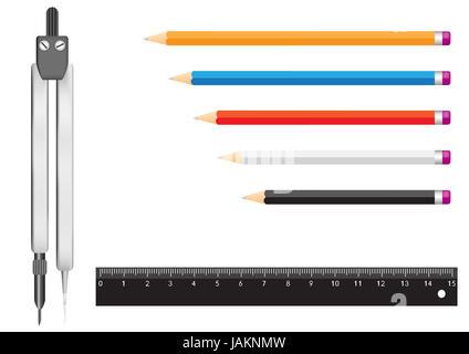 Die Werkzeuge, die isoliert auf einem weißen Hintergrund für die Geometrie. Bleistifte, ein Lineal und einem Zirkel - Stockfoto