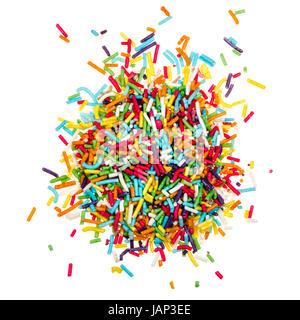 Dekoration, farbigen Zucker Streusel isoliert auf weißem Hintergrund - Stockfoto