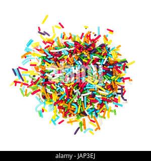 Dekoration, farbigen Zucker Jimmies isoliert auf weißem Hintergrund - Stockfoto