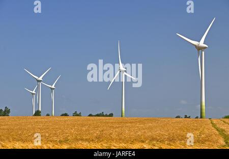 Windmühlen in einem Maisfeld - Stockfoto
