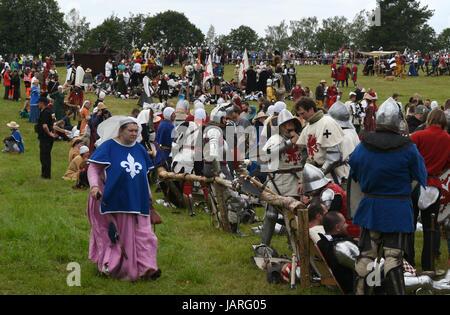 Schlacht von Grunwald. Clash des Deutschen Ordens, Polnisch und Litauisch - die Nonne ist in Eile, die Rittern zu - Stockfoto