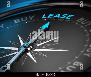 Konzeptionelle 3D Render eines Kompasses mit der Nadel zeigt das Wort Leasing, blau und schwarz-Tönen mit Unschärfe - Stockfoto