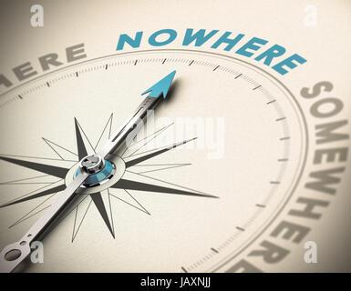 Realistisches Konzept der Desorientierung. Kompass-Nadel zeigt das blaue Wort nirgends auf einem Papierhintergrund. - Stockfoto